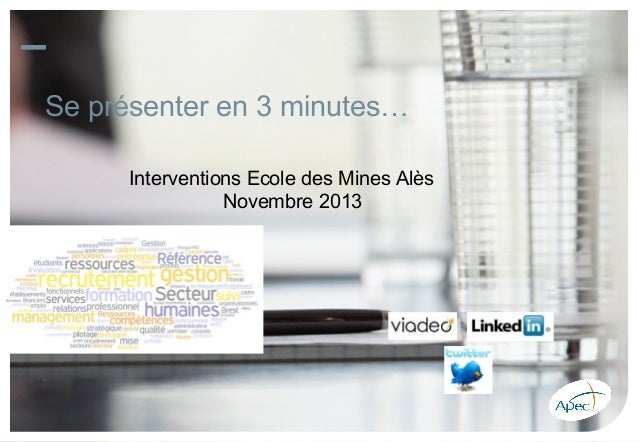 atelier se presenter en 3 minutes intervention apec ecole