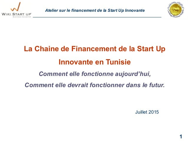 Atelier sur le financement de la Start Up Innovante 1 La Chaine de Financement de la Start Up Innovante en Tunisie Comment...