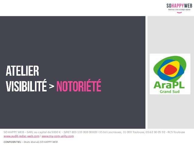 CONFIDENTIEL – Droits réservés SO HAPPY WEB SO HAPPY WEB – SARL au capital de 5000 € - SIRET 803 133 008 00018 l 35 bd Las...
