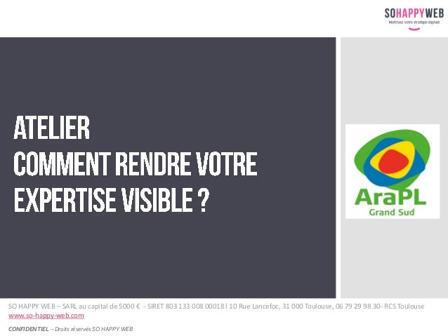 CONFIDENTIEL – Droits réservés SO HAPPY WEB SO HAPPY WEB – SARL au capital de 5000 € - SIRET 803 133 008 00018 l 10 Rue La...
