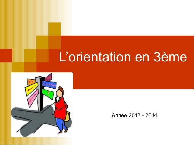 L'orientation en 3ème  Année 2013 - 2014
