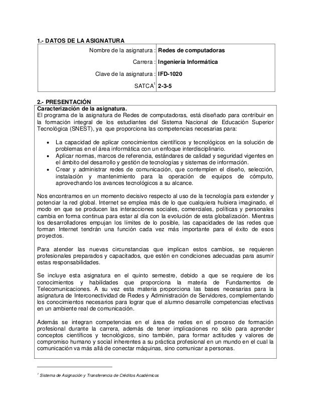 1.- DATOS DE LA ASIGNATURA Nombre de la asignatura : Redes de computadoras Carrera : Ingeniería Informática Clave de la as...