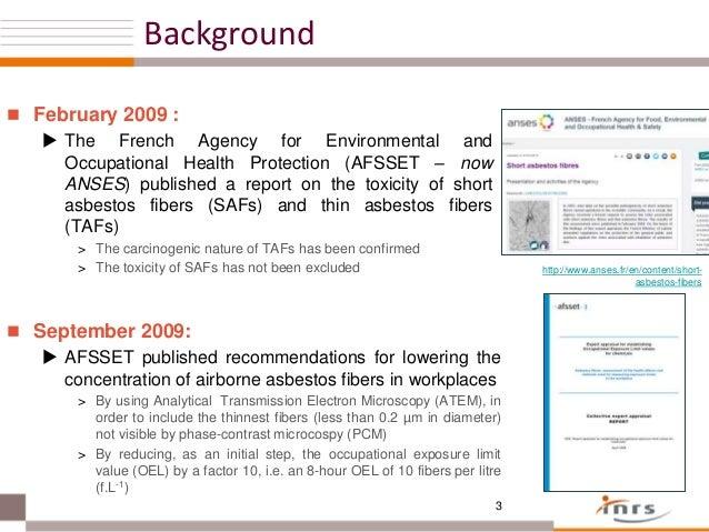 Asbestos Fibers In The Air : Asbestos exposure measurement investigation using