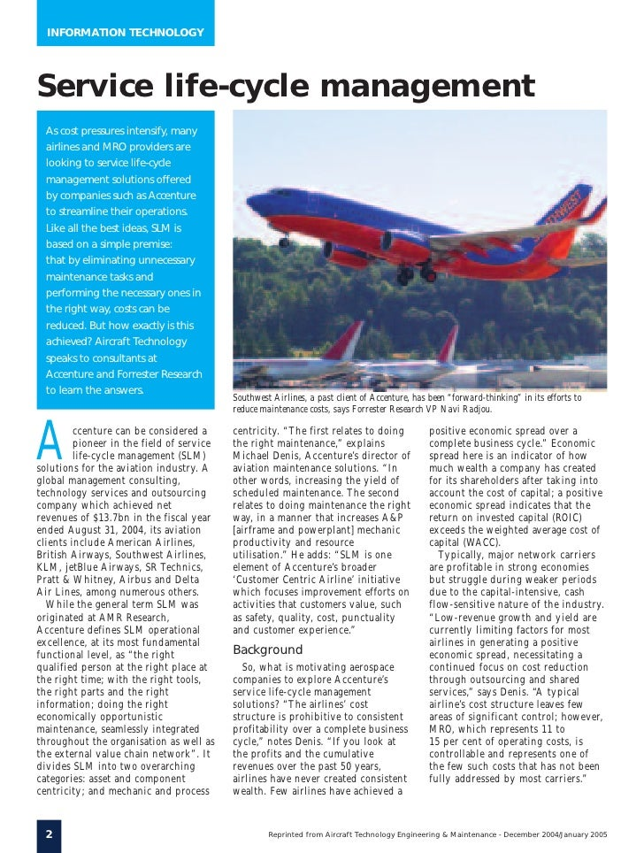 Technology Lifecycle Management: Aviation Service Lifecycle Management