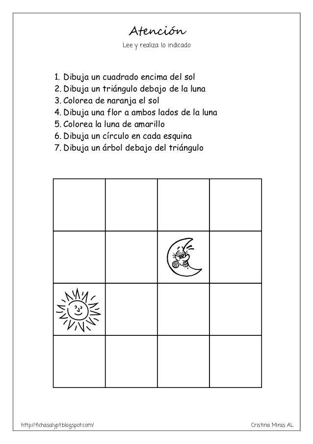 http://fichasalypt.blogspot.com/ Cristina Miras AL Atención Lee y realiza lo indicado 1. Dibuja un cuadrado encima del sol...