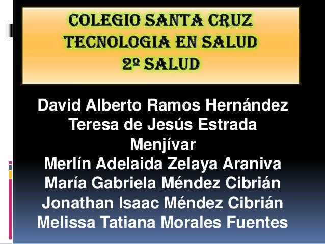 David Alberto Ramos Hernández    Teresa de Jesús Estrada            Menjívar Merlín Adelaida Zelaya Araniva María Gabriela...
