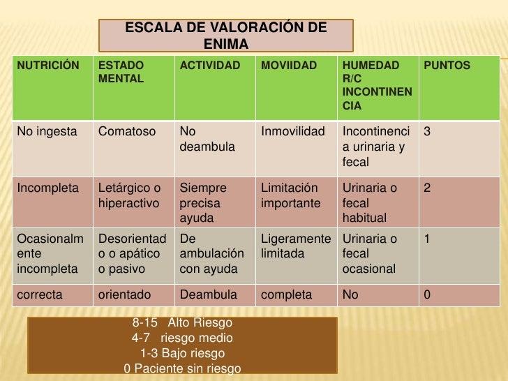 ESCALA DE VALORACIÓN DE ENIMA<br />8-15   Alto Riesgo<br />4-7   riesgo medio<br />1-3 Bajo riesgo<br />0 Paciente sin rie...