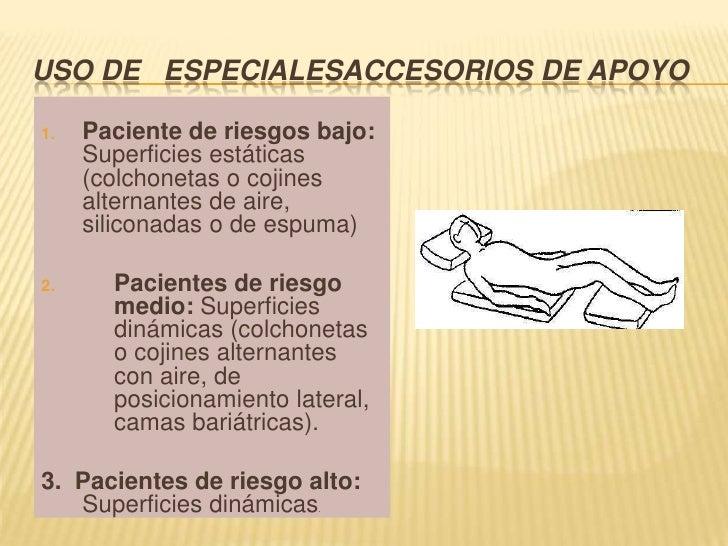 Uso de   especialesACCESORIOS de apoyo<br />Paciente de riesgos bajo: Superficies estáticas (colchonetas o cojines alterna...