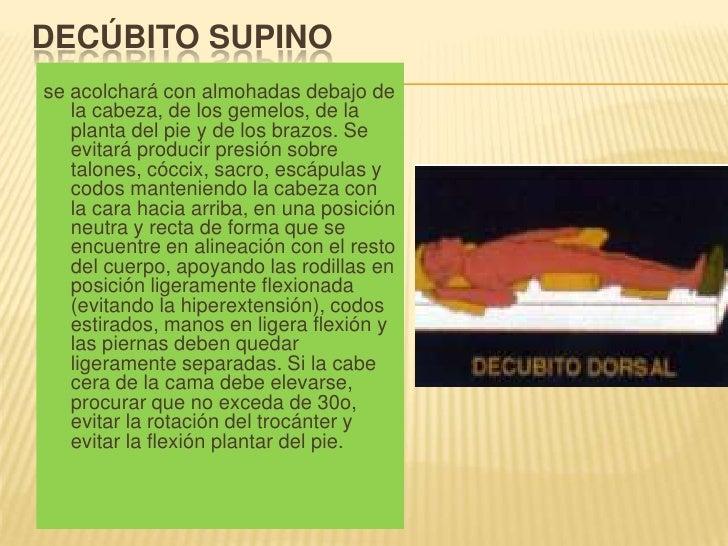 Decúbito supino<br />se acolchará con almohadas debajo de la cabeza, de los gemelos, de la planta del pie y de los brazos....