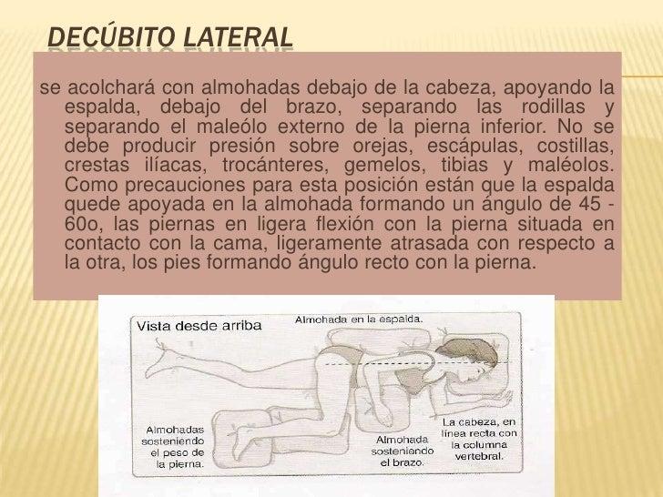 Decúbito lateral<br />se acolchará con almohadas debajo de la cabeza, apoyando la espalda, debajo del brazo, separando las...
