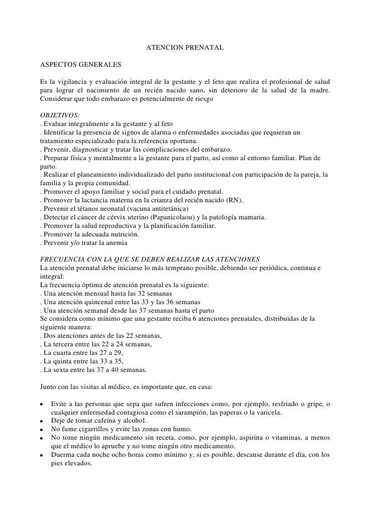 ATENCION PRENATAL<br />ASPECTOS GENERALES<br />Es la vigilancia y evaluación integral de la gestante y el feto que realiza...