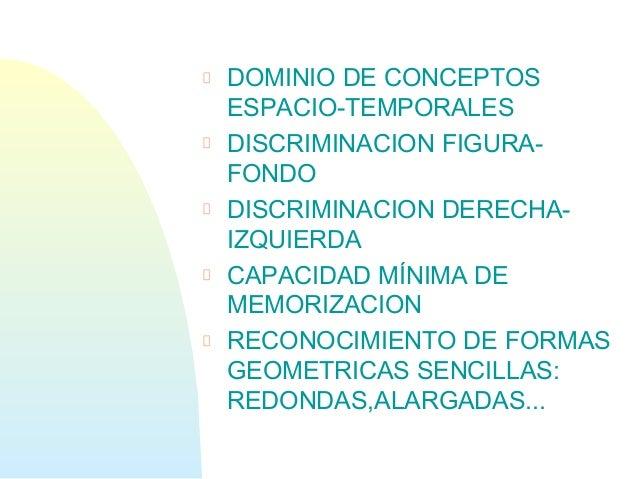 DOMINIO DE CONCEPTOSESPACIO-TEMPORALESDISCRIMINACION FIGURA-FONDODISCRIMINACION DERECHA-IZQUIERDACAPACIDAD MÍNIMA DEMEMORI...