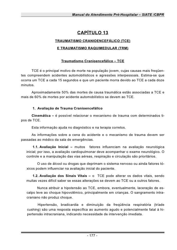 Manual do Atendimento Pré-Hospitalar – SIATE /CBPR                                  CAPÍTULO 13                    TRAUMAT...