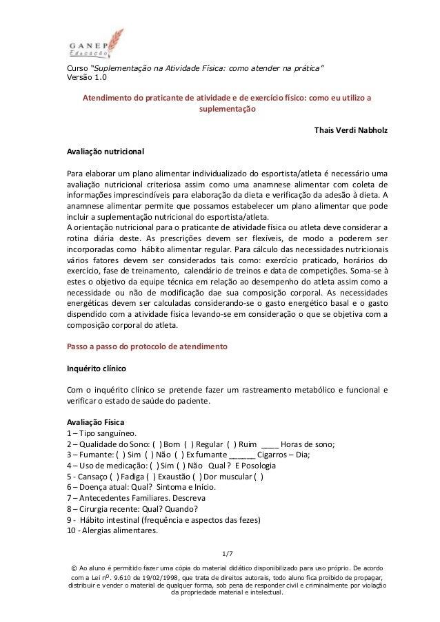 """Curso """"Suplementação na Atividade Física: como atender na prática""""Versão 1.0    Atendimento do praticante de atividade e d..."""