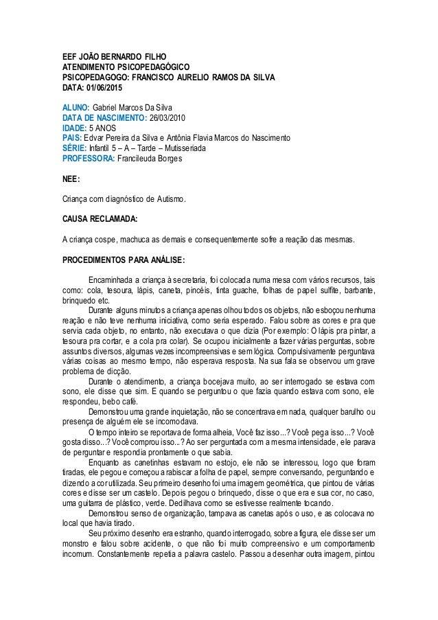 EEF JOÃO BERNARDO FILHO ATENDIMENTO PSICOPEDAGÓGICO PSICOPEDAGOGO: FRANCISCO AURELIO RAMOS DA SILVA DATA: 01/06/2015 ALUNO...