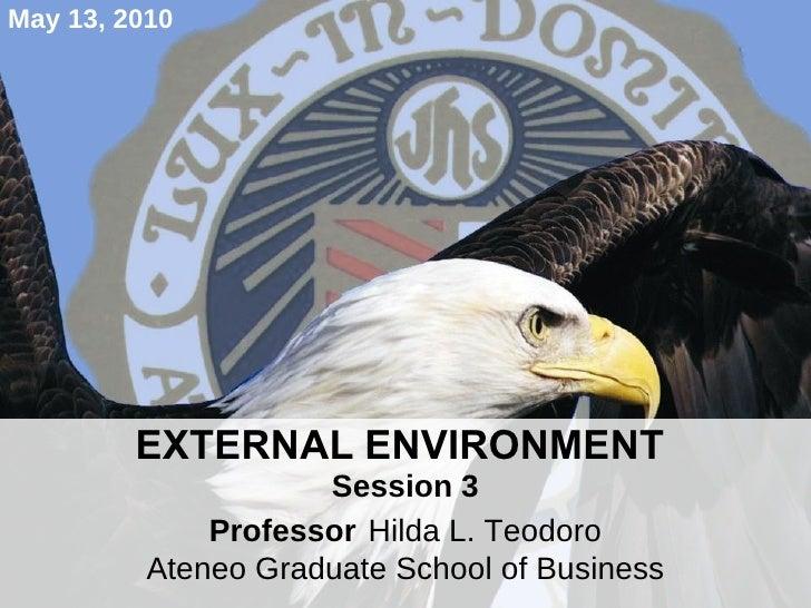 EXTERNAL ENVIRONMENT  Session 3 Professor   Hilda L. Teodoro Ateneo Graduate School of Business