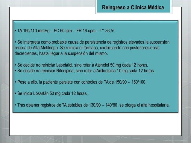 • TA 190/110 mmHg – FC 60 lpm – FR 16 cpm – T° 36,5º. • Se interpreta como probable causa de persistencia de registros ele...