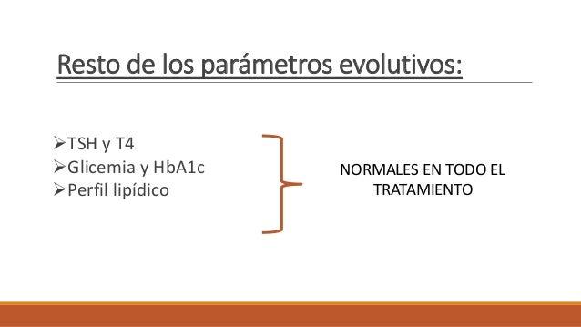 Resto de los parámetros evolutivos: TSH y T4 Glicemia y HbA1c Perfil lipídico NORMALES EN TODO EL TRATAMIENTO