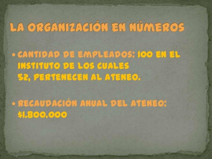 La organización en números<br />Cantidad de empleados: 100 en el instituto de los cuales 52, pertenecen al Ateneo.<br />Re...