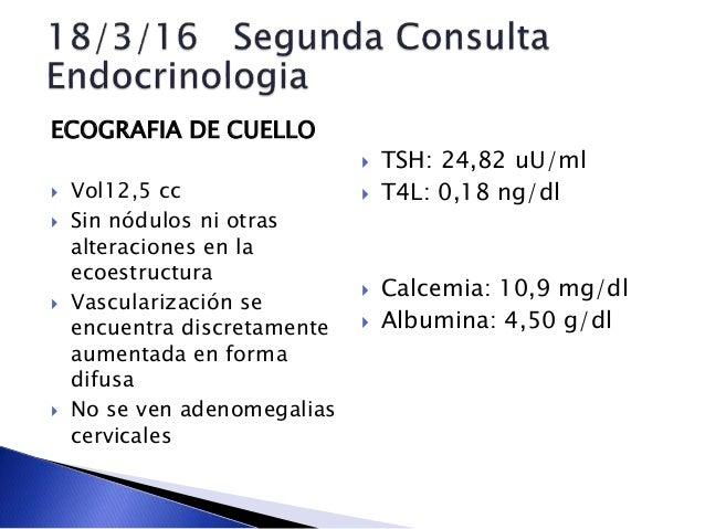 ECOGRAFIA DE CUELLO  Vol12,5 cc  Sin nódulos ni otras alteraciones en la ecoestructura  Vascularización se encuentra di...