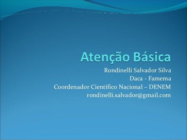Rondinelli Salvador Silva Daca - Famema Coordenador Científico Nacional – DENEM rondinelli.salvador@gmail.com