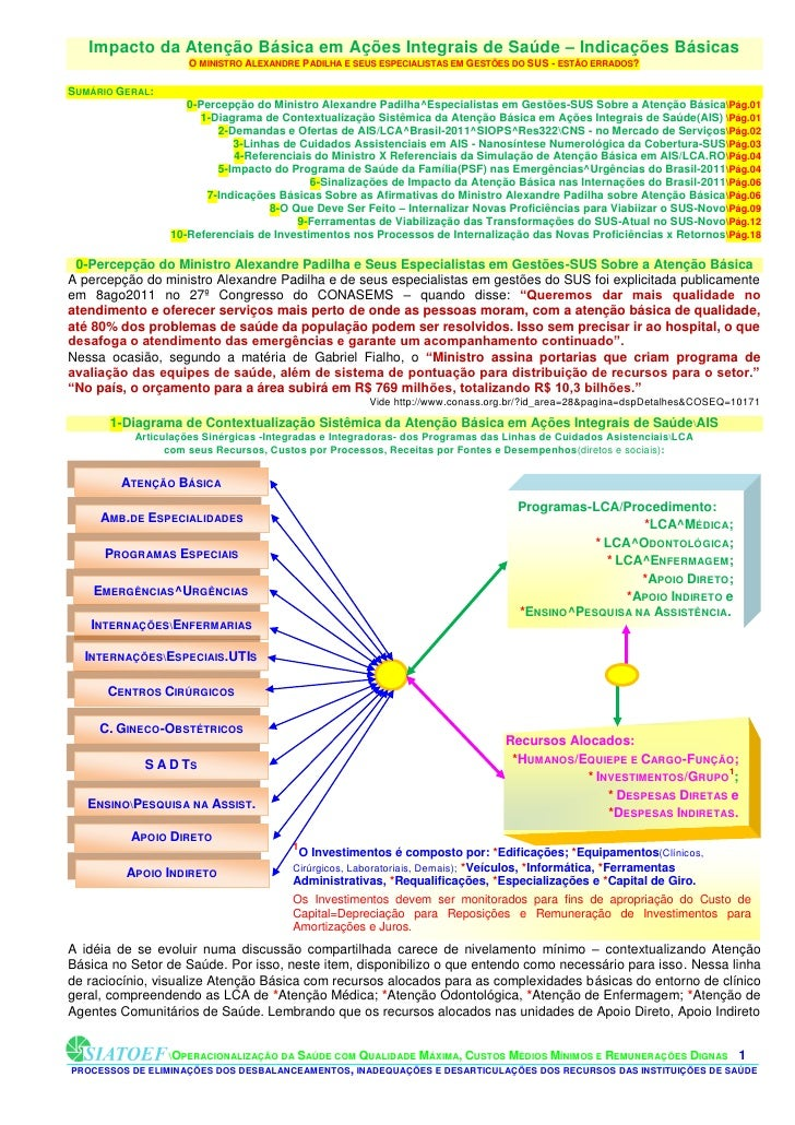 Impacto da Atenção Básica em Ações Integrais de Saúde – Indicações Básicas                     O MINISTRO ALEXANDRE PADILH...