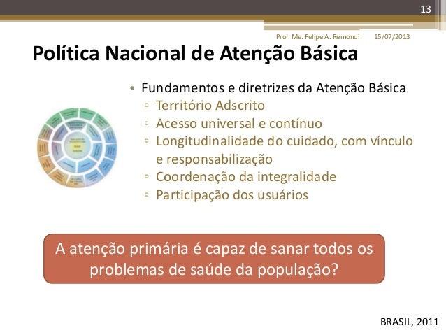 15/07/2013Prof. Me. Felipe A. Remondi 13 Política Nacional de Atenção Básica BRASIL, 2011 • Fundamentos e diretrizes da At...