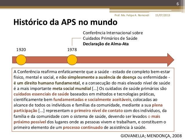 15/07/2013Prof. Me. Felipe A. Remondi 6 Histórico da APS no mundo 1920 1978 Conferência Internacional sobre Cuidados Primá...