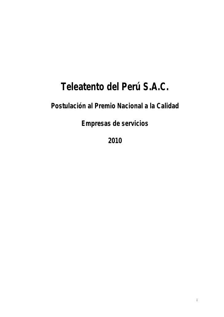 Teleatento del Perú S.A.C.Postulación al Premio Nacional a la Calidad          Empresas de servicios                   201...