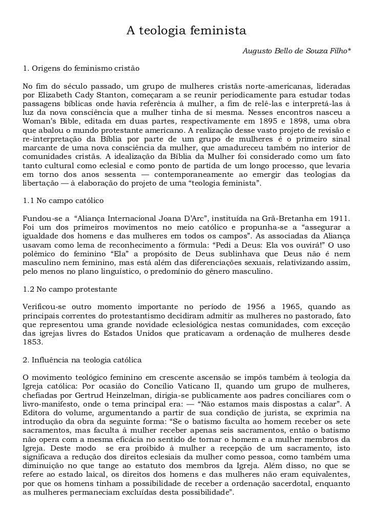 A teologia feminista                                                          Augusto Bello de Souza Filho*1. Origens do f...