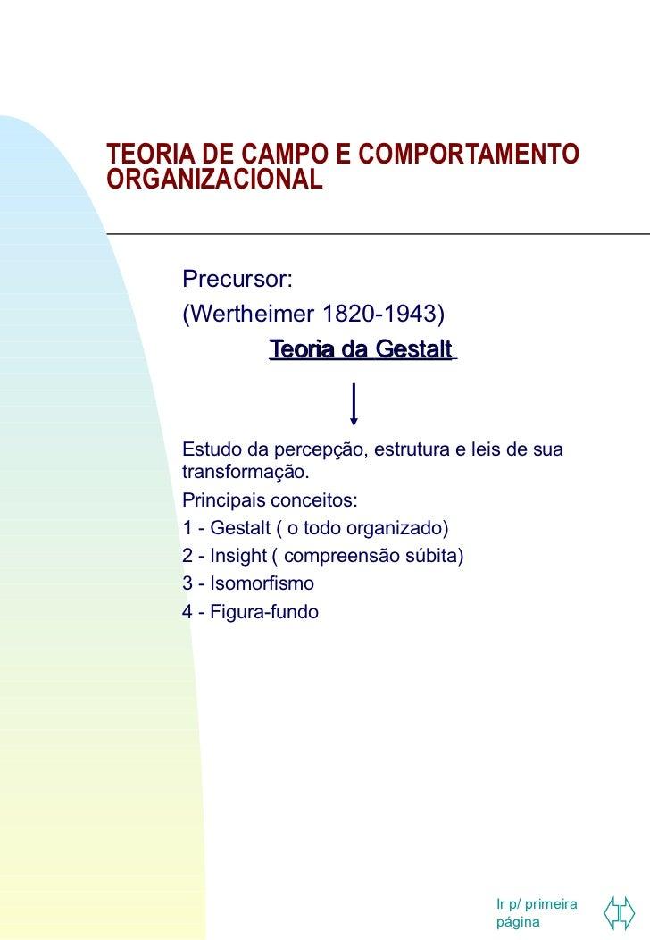 TEORIA DE CAMPO E COMPORTAMENTO ORGANIZACIONAL Precursor: (Wertheimer 1820-1943) Teoria da  Gestalt   Estudo da percepção,...