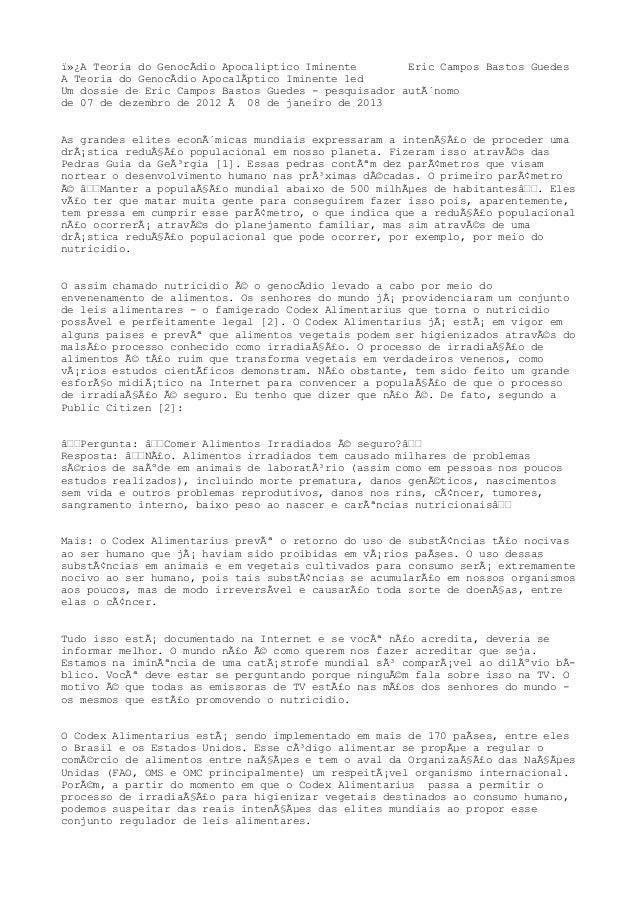 A Teoria do GenocÃdio Apocaliptico Iminente        Eric Campos Bastos GuedesA Teoria do GenocÃdio ApocalÃptico Iminente...