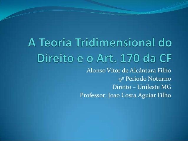 Alonso Vítor de Alcântara Filho 9º Periodo Noturno Direito – Unileste MG Professor: Joao Costa Aguiar Filho