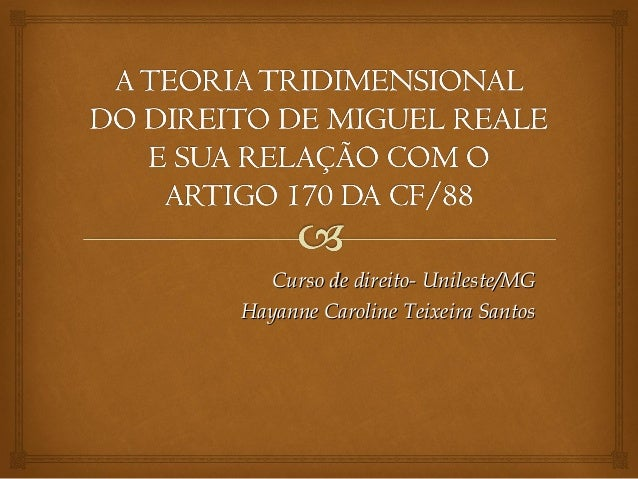 Curso de direito- Unileste/MG Hayanne Caroline Teixeira Santos