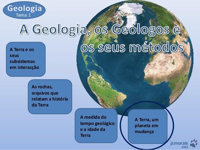Tema 1  A Terra e os seus subsistemas em interacção  As rochas, arquivos que relatam a história da Terra  A medida do temp...
