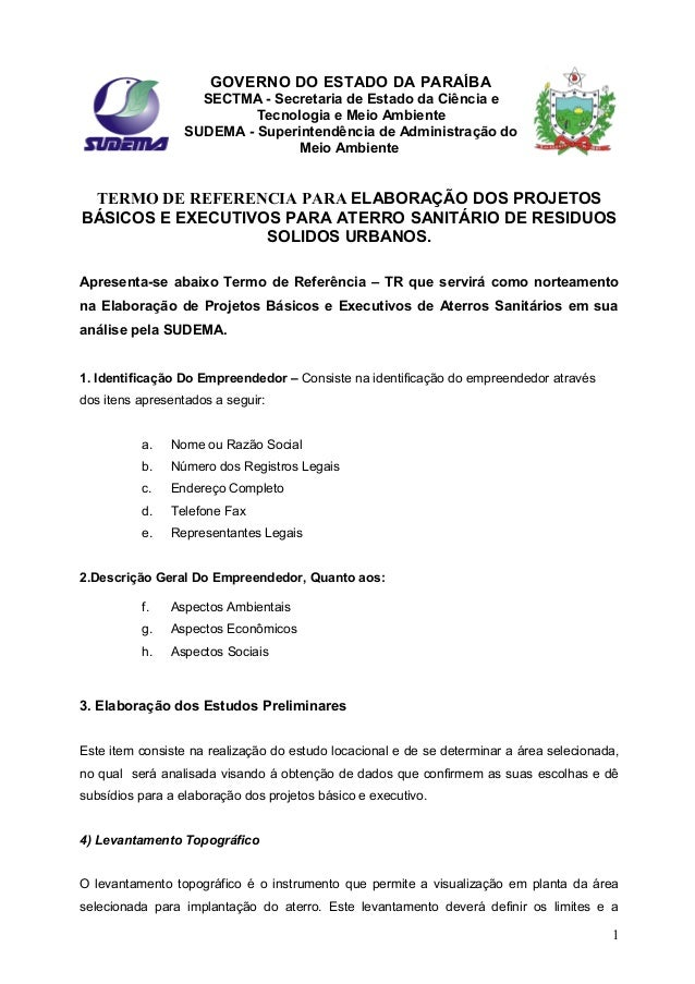GOVERNO DO ESTADO DA PARAÍBA SECTMA - Secretaria de Estado da Ciência e Tecnologia e Meio Ambiente SUDEMA - Superintendênc...