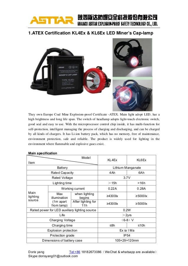 Atex Certificate Kl4 Ex Lamp Kl6ex Miners Cap Lamp Mining Headlight