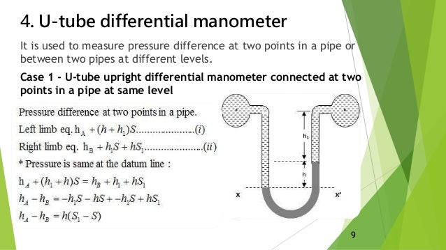 how to read manometer u tube