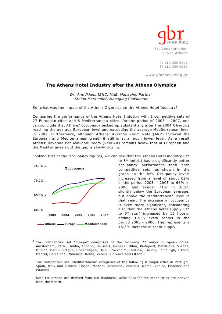 The Athens Hotel Industry after the Athens Olympics