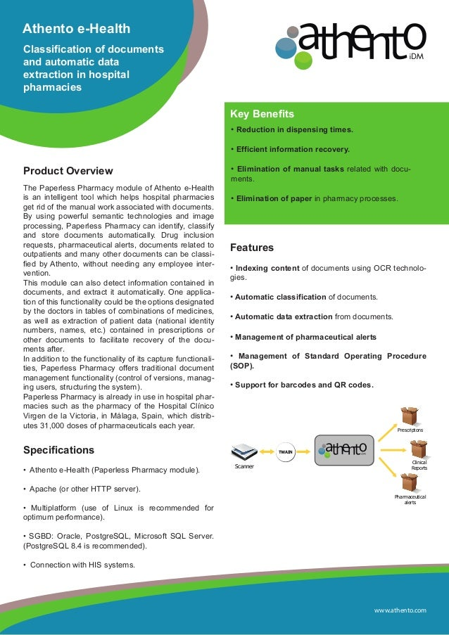 www.athento.comAthento e-HealthClassification of documentsand automatic dataextraction in hospitalpharmaciesProduct Overvi...