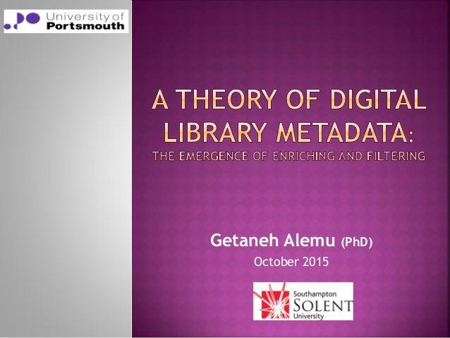 Getaneh Alemu (PhD) October 2015