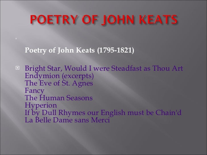 a review of the nature of beauty in la belle dame sans merci by john keats Get an answer for 'what are the features of romanticism in john keats's la belle dame sans merci' and find homework help for other la belle dame sans merci.