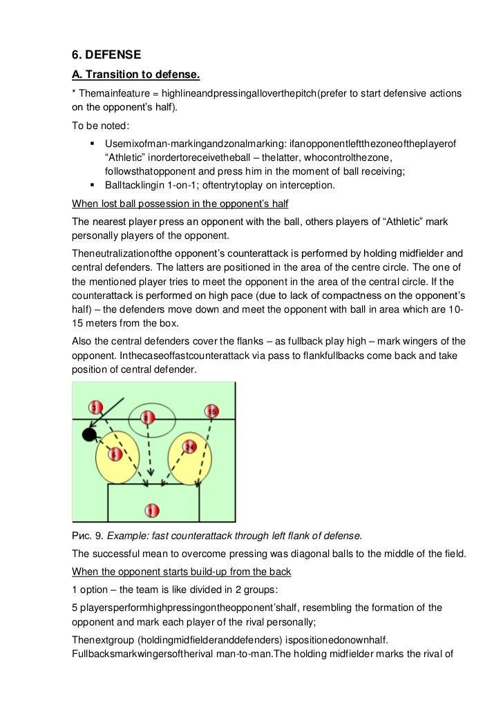 6. DEFENSEА. Transition to defense.* Themainfeature = highlineandpressingalloverthepitch(prefer to start defensive actions...