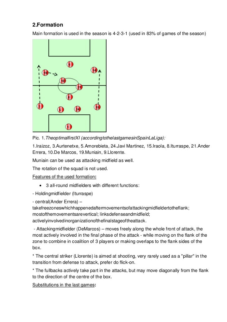 2.FormationMain formation is used in the season is 4-2-3-1 (used in 83% of games of the season)Pic. 1.TheoptimalfirstXI (a...