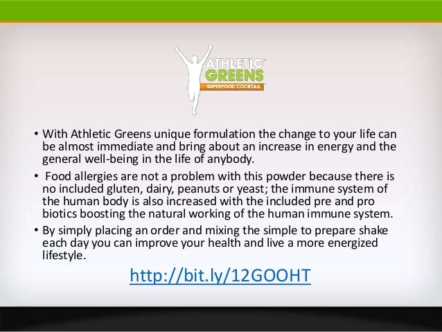 • With Athletic Greens unique formulation the change to your life canbe almost immediate and bring about an increase in en...
