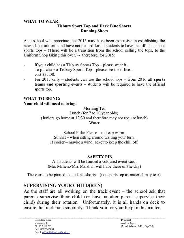 Athletics notice to parents 2015