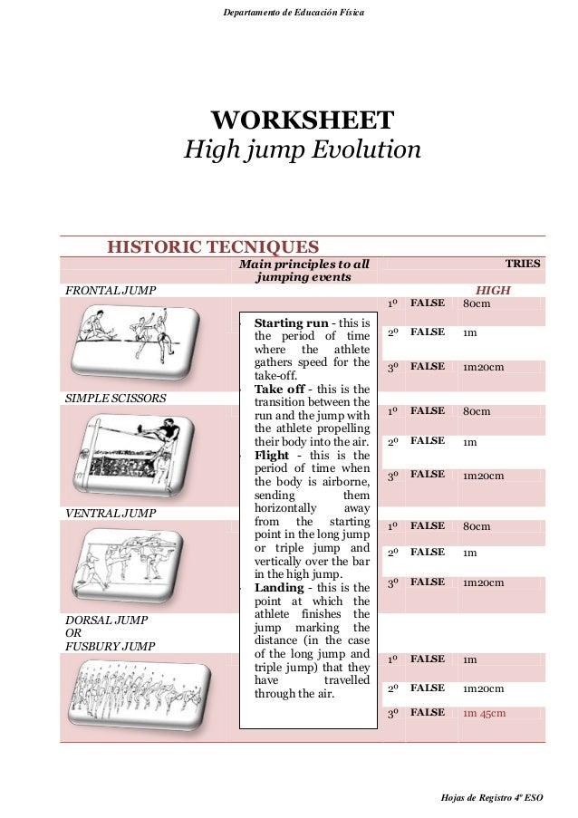 Athletics worksheets – Evolution Worksheets