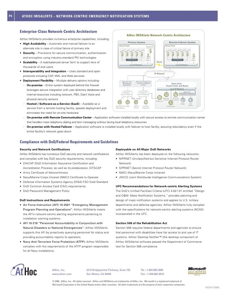 Department of Defense Data Sheet from AtHoc