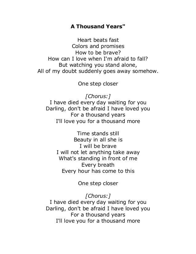 Christina perri a thousand years song lyrics