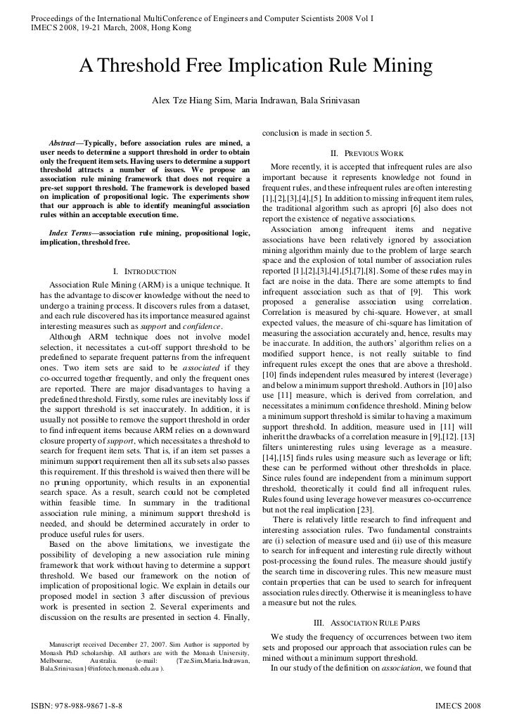Proceedings of the International MultiConference of Engineers and Computer Scientists 2008 Vol IIMECS 2008, 19-21 March, 2...